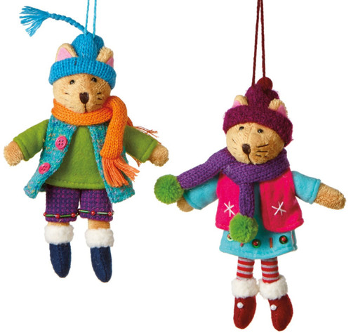 Boy and Girl Kitty Cat Dressed for Winter Holiday Knitted Ornaments Set of 2