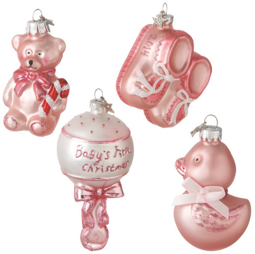 Baby Girl First Christmas 2014 Bear Booties Rattle Duck Glass Ornaments Set of 4