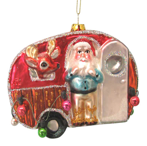 Camping Trailer with Santa and Reindeer Glass Christmas Holiday Ornament