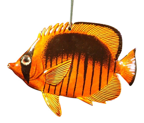 Carribean Sea Hanging Tropical Brown Surgeon Fish Christmas Ornament  4 inch