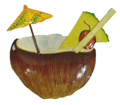 Coconut Tropical Drink Haitian Metal Art Wall Decor