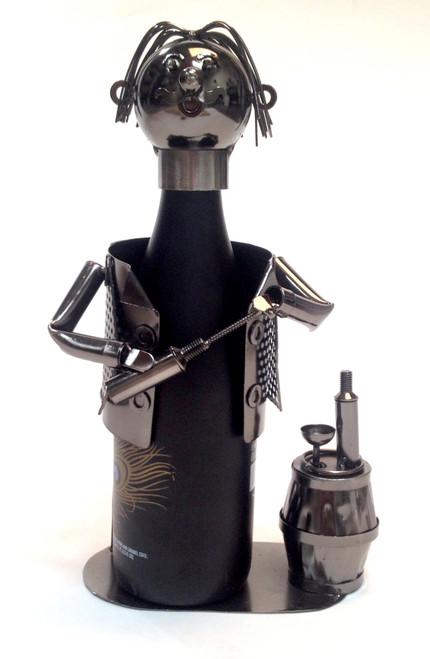 Connoisseur Wine Taster Sommelier Polished Metal Wine Caddy Bottle Holder