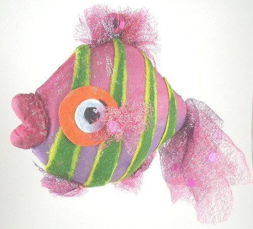 Pink and Green Tropical Fish Nautical Beach Christmas Holiday Tree Ornament