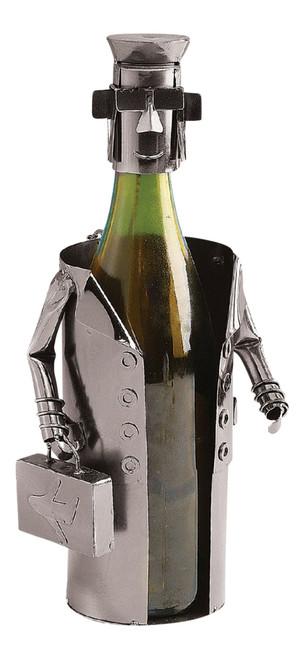 Airline Pilot Aviator Steward Polished Metal Wine Caddy Bottle Holder