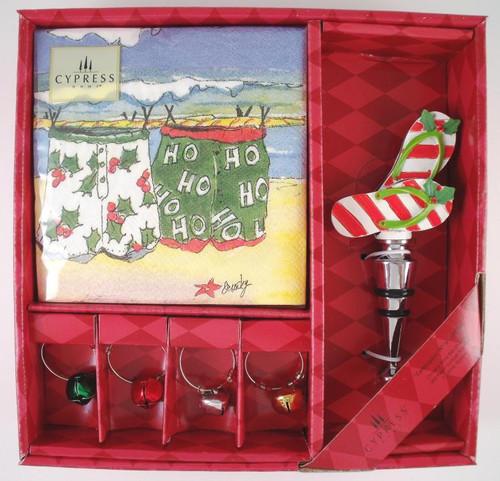 Coastal Holiday Christmas Celebration Wine Gift Set