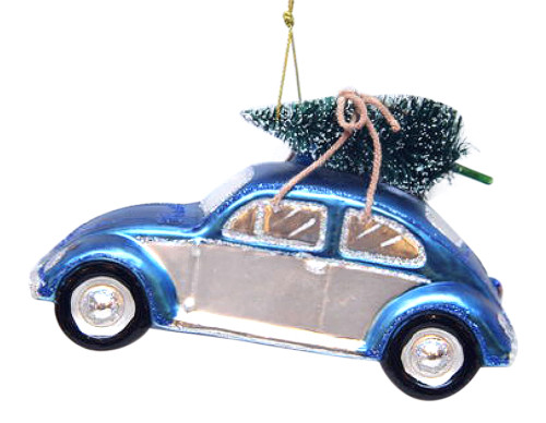 Blue Beetle Bug Car with a Tree Glass Christmas Holiday Ornament
