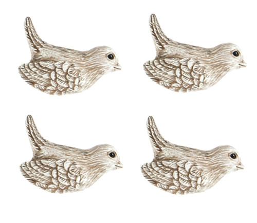 Shaped Tan Bird Drawer Cabinet Pulls Dimensional Polystone 2.5 Inch Set of 4