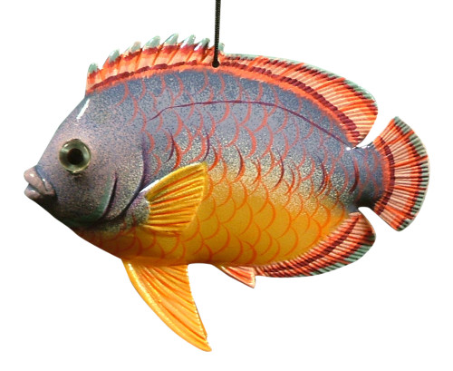 3D Tropical Fish Christmas Ornament 6 Inches Purple and Orange 6ORN25 Resin
