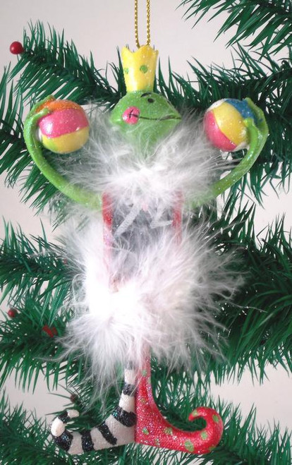 Freddy the Frog Froggy Holiday Christmas Ornament