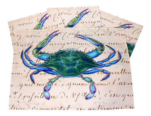 Blue Crab on Beige 14 Inch Kitchen Dining Room Placemats Set of 4