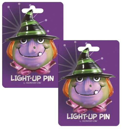 Spooky Fun Lights Up Halloween Witch Pin Set of 2 Midwest CBK