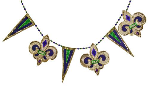 Mardi Gras Celebration Sequins and Rhinestones 36 Inch Fleur de lis Wall Banner