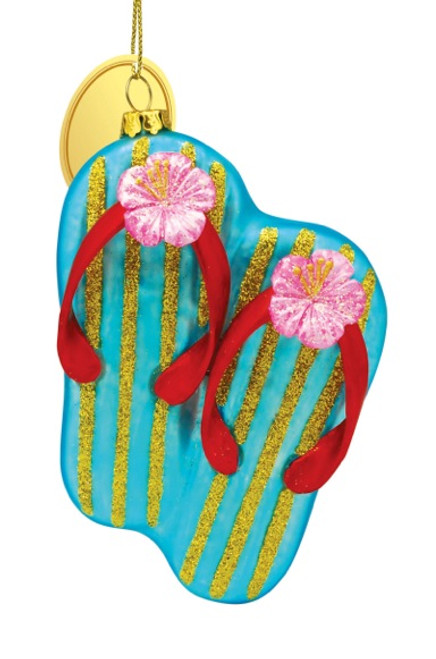Blue Flip Flops with Pink Hibiscus Blown Glass Christmas Holiday Ornament