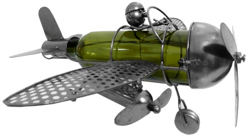 Airplane with Pilot Polished Metal Wine Caddy Bottle Holder