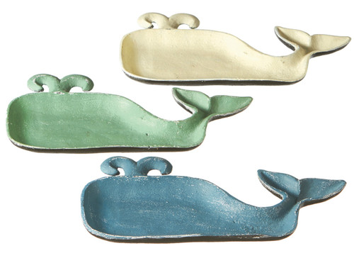 Blue Cream and Green Large Whale Trinket Dishes Set of 3 Cast Iron