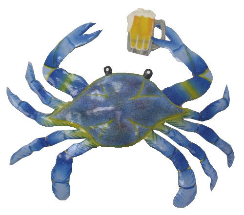 Maryland blue crab with beer haitian metal art wall decor