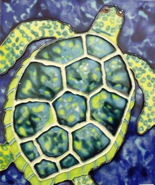 Tropical Ocean Reef Green Sea Turtle Ceramic Tile 4 X 4