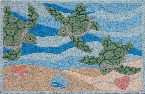 Tropical Green Sea Turtles Swimming 21 X 33 Inches Area