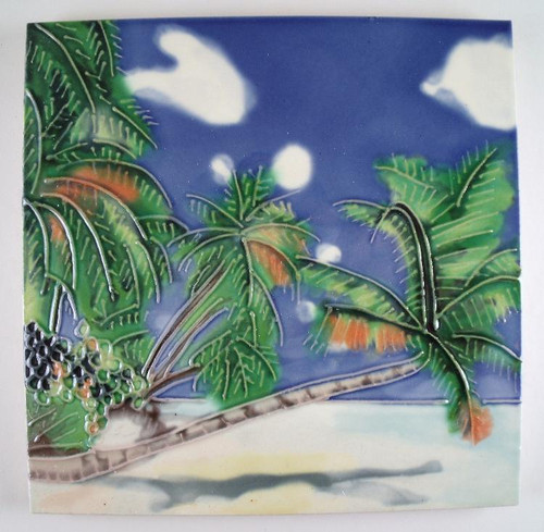 Tropical Palm Trees Over The Water Ceramic Tile Art 6x6