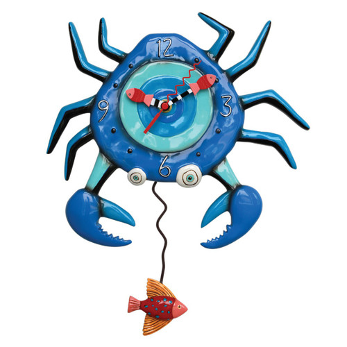 Blue Crab With Fish Pendulum Battery Operated Wall Clock