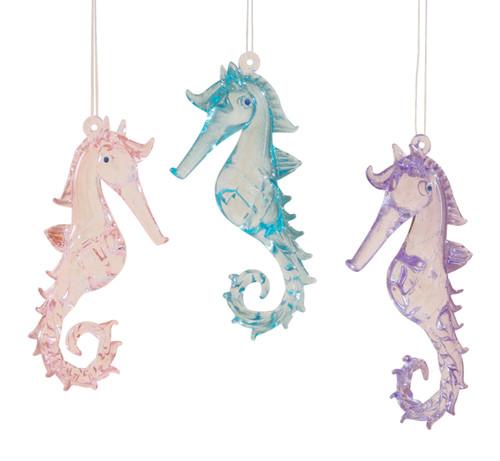 Coastal Pink Purple Blue Seahorses Glass Christmas Holiday