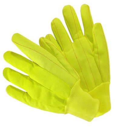 20oz Hi-Vis Knit Wrist Poly Corded Gloves Yellow  ## 4518CR / Y ##