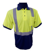 Navy / Lime Class 2 Short Sleeve Polo Shirt  ##G892 ##