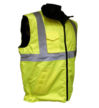 Insulated Reversable Water Repellent Class 2 Safety Vests - Quilted Lining  ##INSUL VEST ##