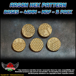 Argon Hex Pattern Bases - 40mm - MDF - 5 Pack