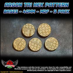 Argon Tri-Hex Pattern Bases - 40mm - MDF - 5 Pack