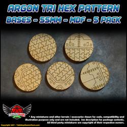 Argon Tri-Hex Pattern Bases - 55mm - MDF - 5 Pack