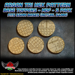 Argon Tri-Hex Pattern Base Toppers - Fits 55mm Bases - 54mm Actual - MDF - 5 Pack