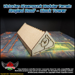 Victorian Steampunk Modular Terrain - Angled Roof - Clock Tower
