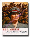 Women Free Marine to Fight Vintage WWII Canvas Print 2D