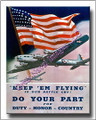 US Military Keep Em Flying WWII  Canvas Print 2D