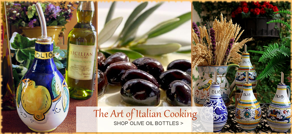 Italian Pottery Ceramics, Italian Olive Oil Bottles, Tuscan Decor. Free Shipping, Guaranteed Lowest Prices. BellaSoleil.com since 1996.