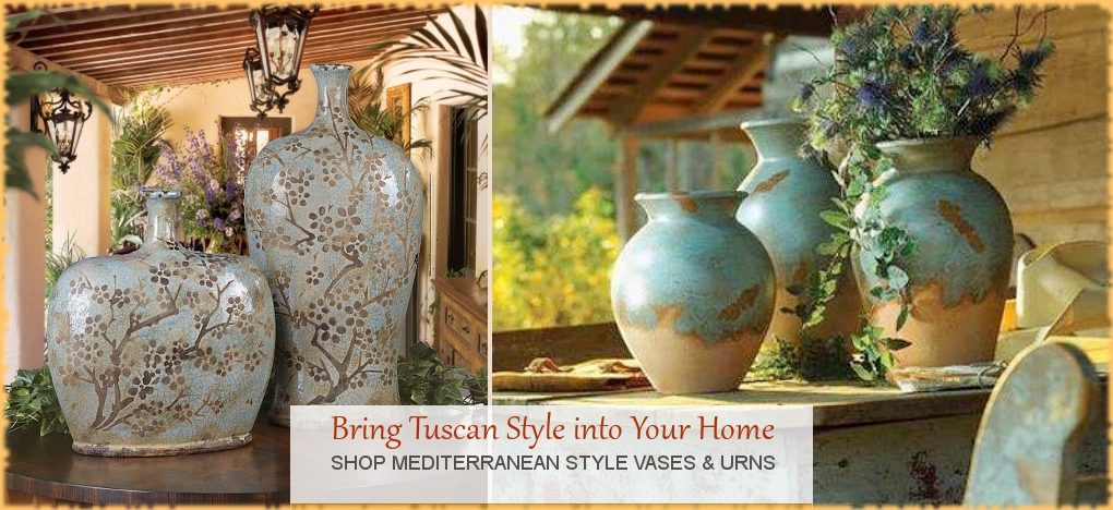 Tuscan Mediterranean Vases Urns FREE Shipping No Sales Tax | BellaSoleil Since 1996