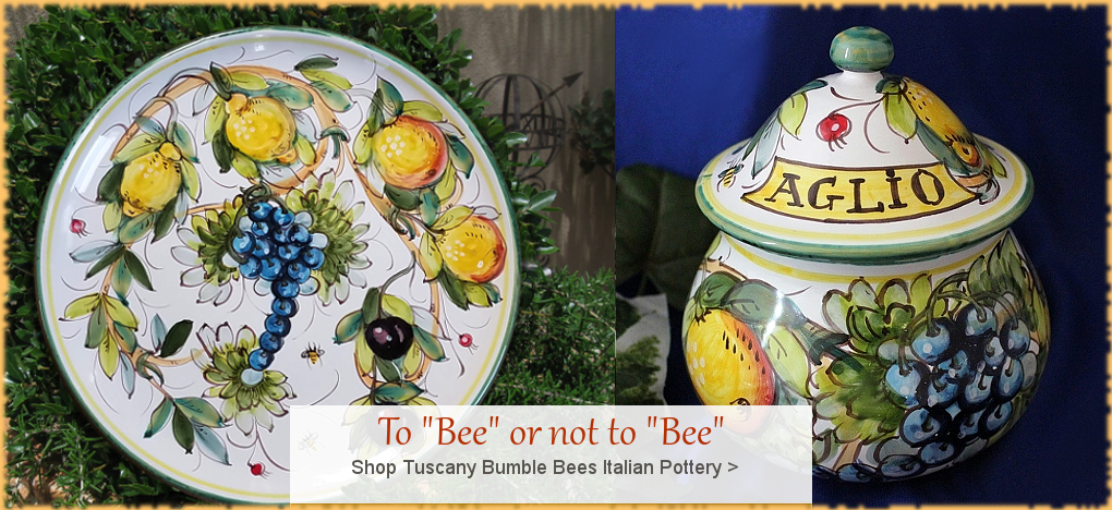 Tuscany Bees Italian Pottery Italian Ceramics   BellaSoleil.com Since 1996