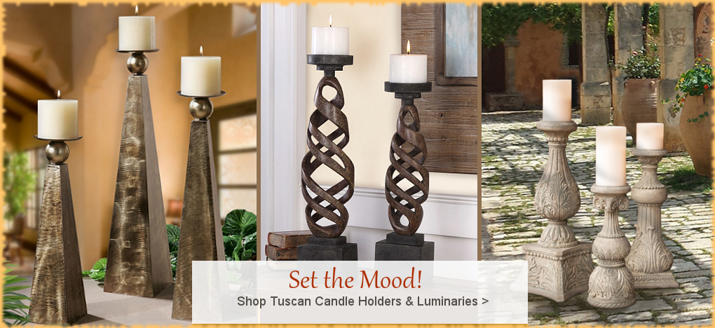 Tuscan, Mediterranean Style Candle Holders, FREE Shipping, No Sales Tax | BellaSoleil.com Tuscan Decor Since 1996