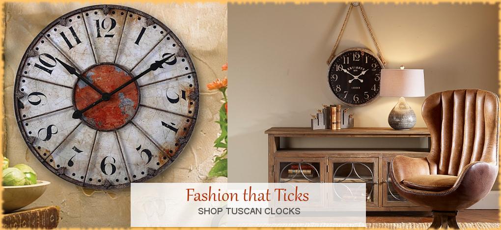 Tuscan Mediterranean Style Clocks, FREE Shipping, No Sales Tax | BellaSoleil.com Tuscan Decor Since 1996