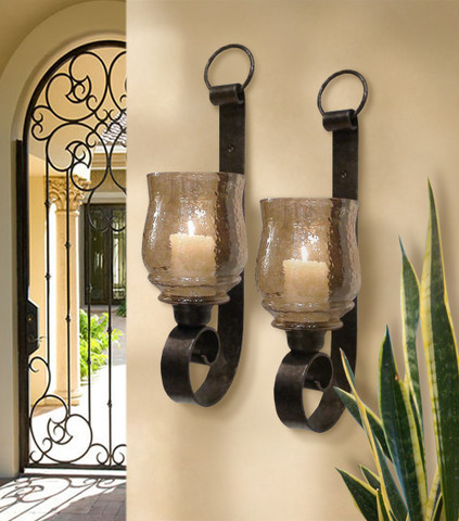 Antique Farmhouse Wall Sconces : 2 Tuscan Farmhouse Antique Wall Sconces (Set of 2) - BellaSoleil.com