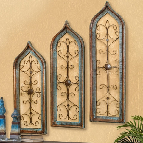 Distressed Window Wall Grilles Turquoise (Set of 3) - BellaSoleil.com