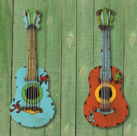 Reclaimed Metal Guitar Wall Decor - BellaSoleil.com