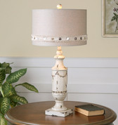Burlap and Button Lamp