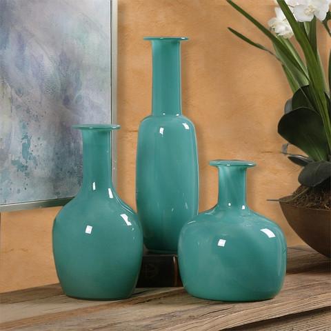 Mediterraneo Glass Vases Set Of 3 Bellasoleil