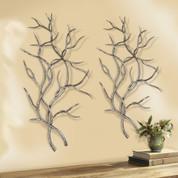 Silver metal tree branch wall decor