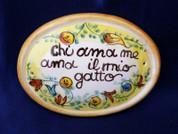 Italian Wall Tile, Italian Proverb Tile, Love Me Love My Cat, Chi Ama Me Ama Il Mio Gatto