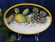 Italian Lemons Serving Platter, Deruta Lemons Grapes Serving Dish