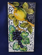 Italian Wall Tile, Tuscan Lemons Grapes Wall Tile, Tuscany Wall Tile, Italian First Stone