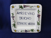 Italian Wall Plaque, Italian Proverb Plate, Friends And Wine Are Better Old